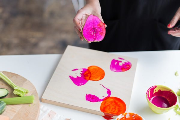 Stamping with dyed fruit