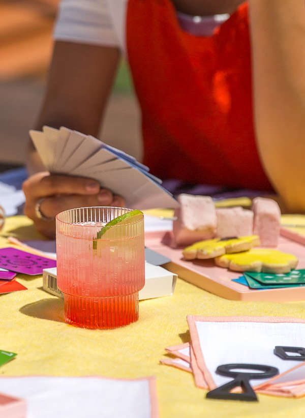 Colorful outdoor entertaining ideas for summer (including this cocktail recipe).