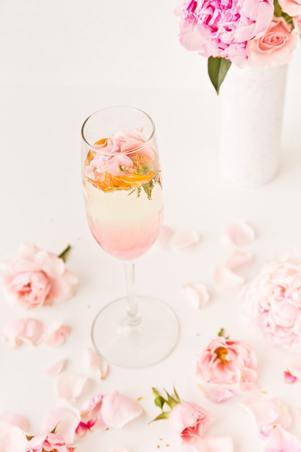 Rosey posey cocktail with homemade rose syrup and Prosecco