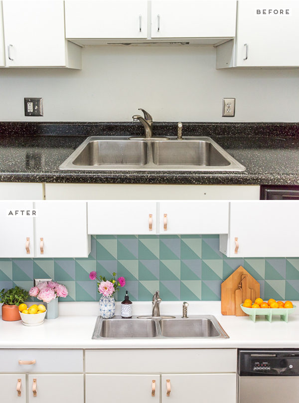 How to create a DIY budget backsplash for $50! Click through for more before and after photos, along with the tutorial for recreating this backsplash on your own.