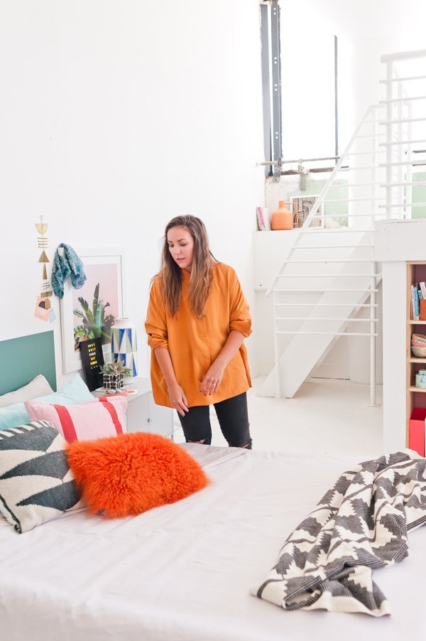 An artsy loft bedroom - styled by Brittni Mehlhoff of Paper & Stitch