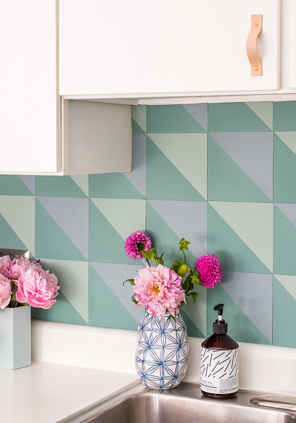 How to create a DIY budget backsplash (that mimics the look of cement tiles) for $50!