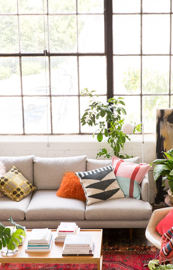 An eclectic mid-century loft with pops of color.