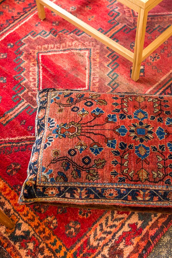 Persian rug and pillow combo,