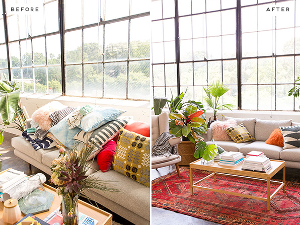 A loft space before and after living room makeover. Click through for more photos.