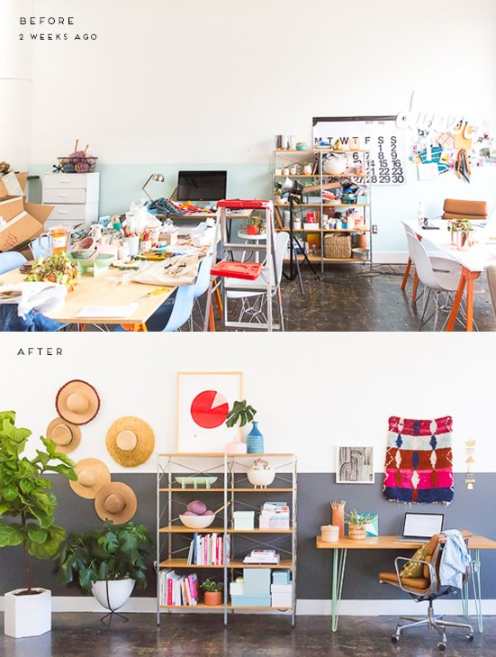 Before and After: A Cluttered Workspace Gets a Minimal, Modern Makeover