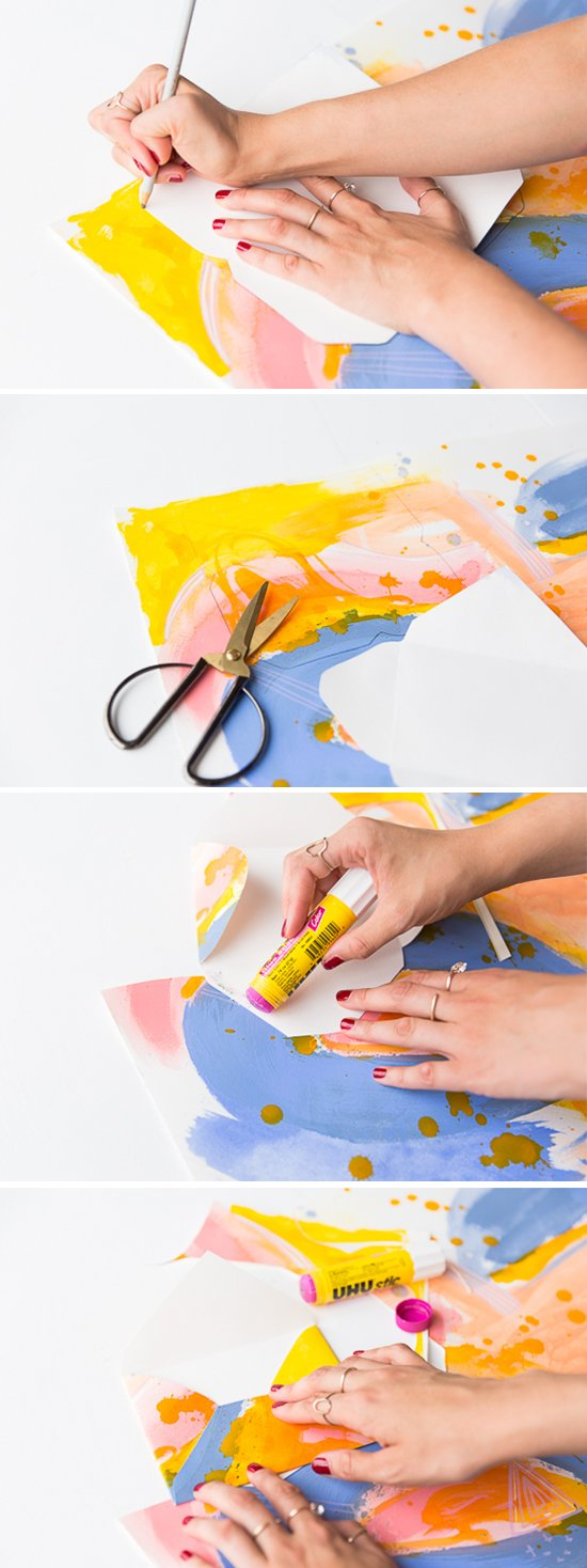 How to make painted DIY envelopes in abstract patterns