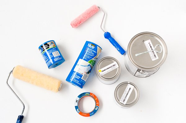 Supplies for creating a colorful, geometric mural