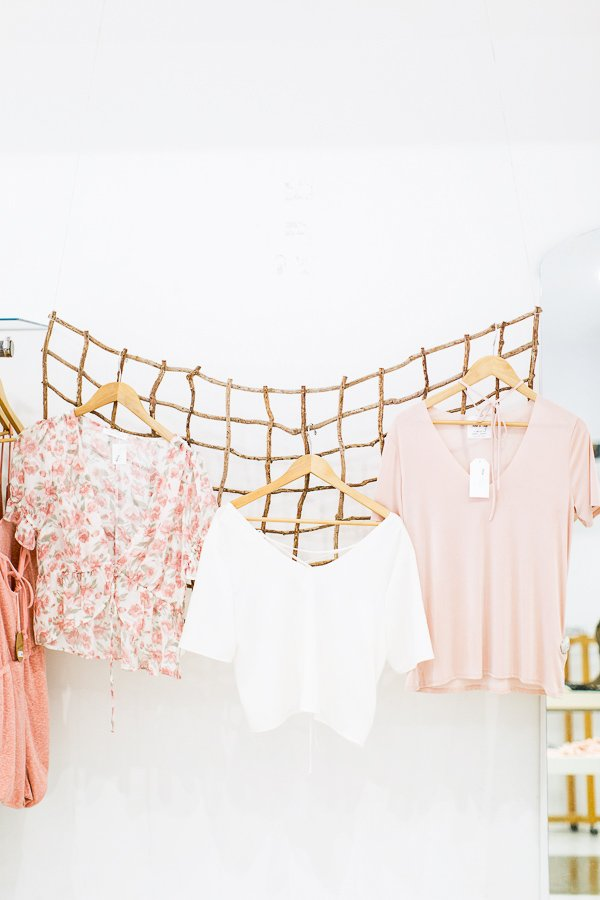 Use a wood or wire grid to hang clothing