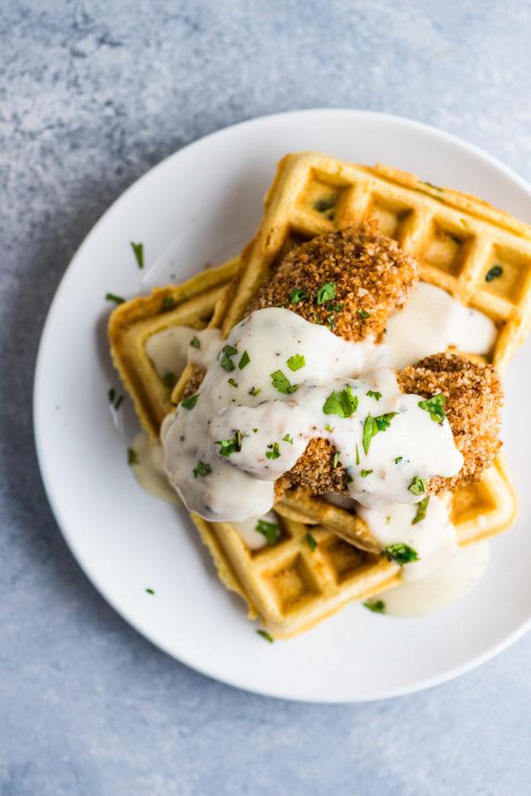 chicken and (cornbread) waffles