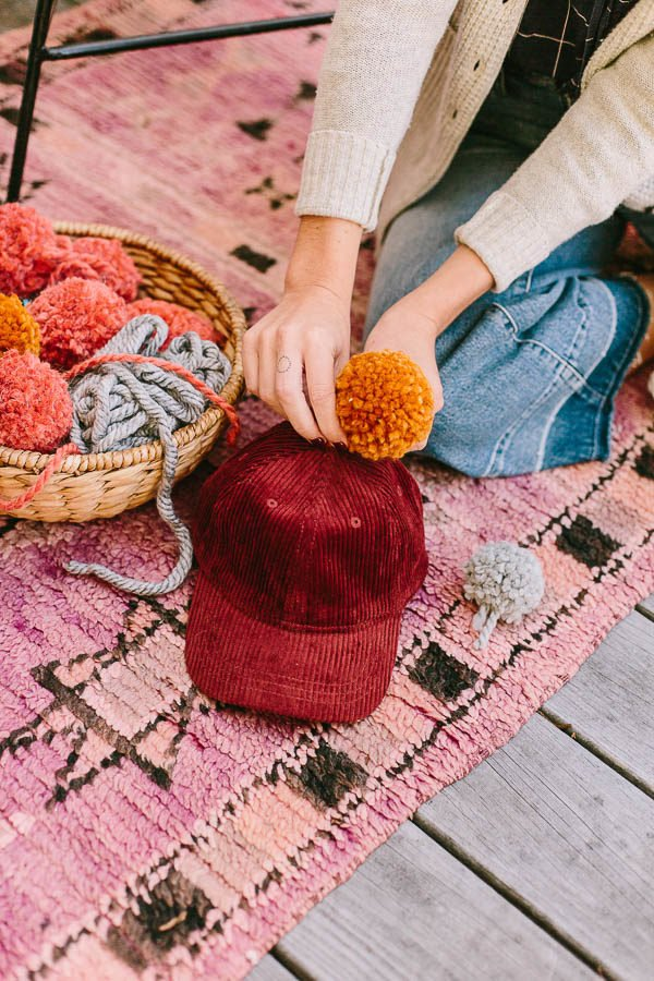 DIY pom pom hats
