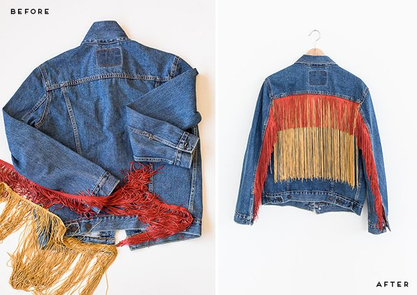 Before and After: How to embellish a standard jean jacket with fringe, that looks like it was always there! Click through for the tutorial. #fashion #diy #tutorial #fringe #jeanjacket #clothing #womens #fall