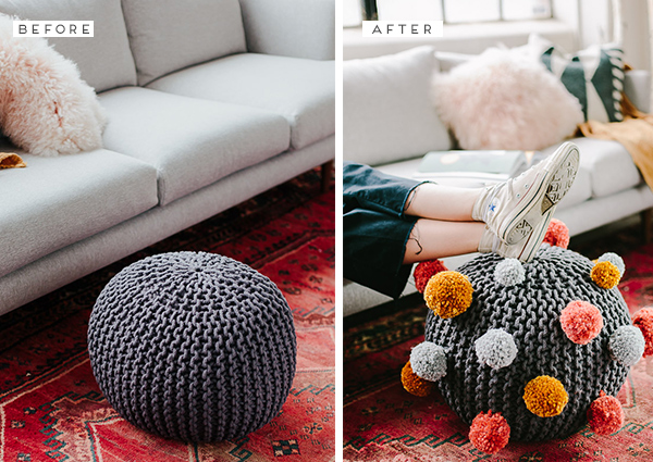 How to make a pom pom DIY ottoman for fall (and beyond. Great for a kids room or kids at heart. #diy #ottoman #pompom #fallinteriors