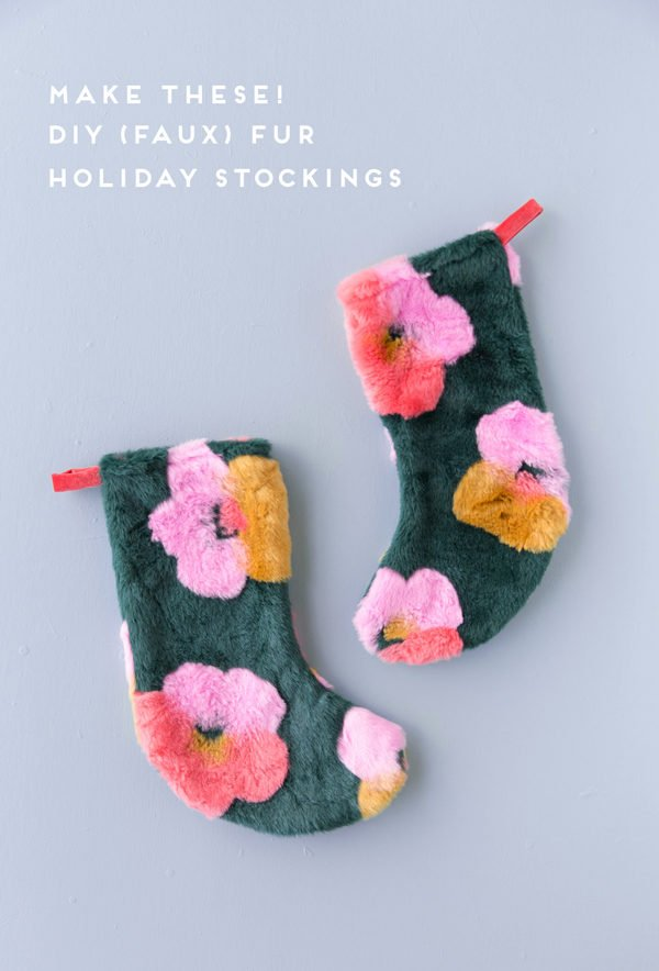 Make these DIY faux fur Christmas stockings for the holidays! Easy to make and so cute too - inspired by Andy Warhol's pop art flower series. #holiday #tutorial #diy #christmasstocking #christmas