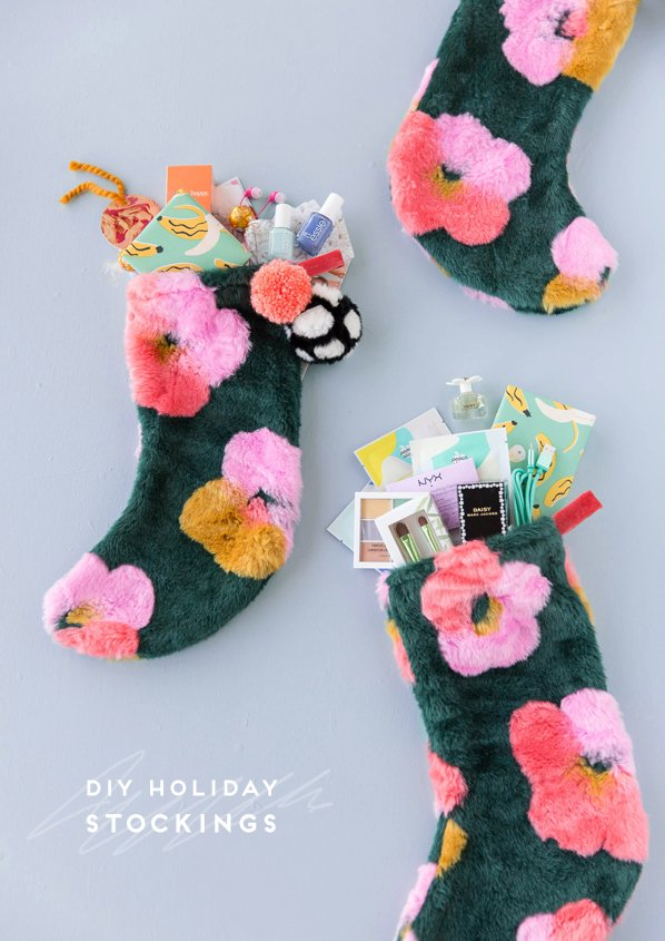 DIY holiday stockings! Click through for the quick and easy sewing project that makes these faux fur stockings possible. #diy #holiday #christmas #stockings #flowerpower