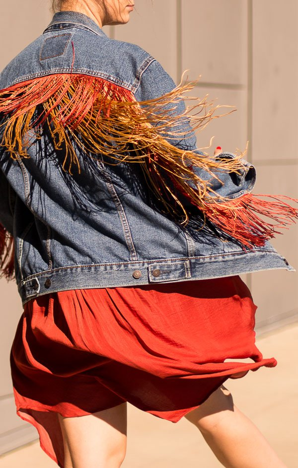 Fringe jean jacket DIY! #fashion #clothing #jeanjacket #diy #diyfashion #fall #fringe