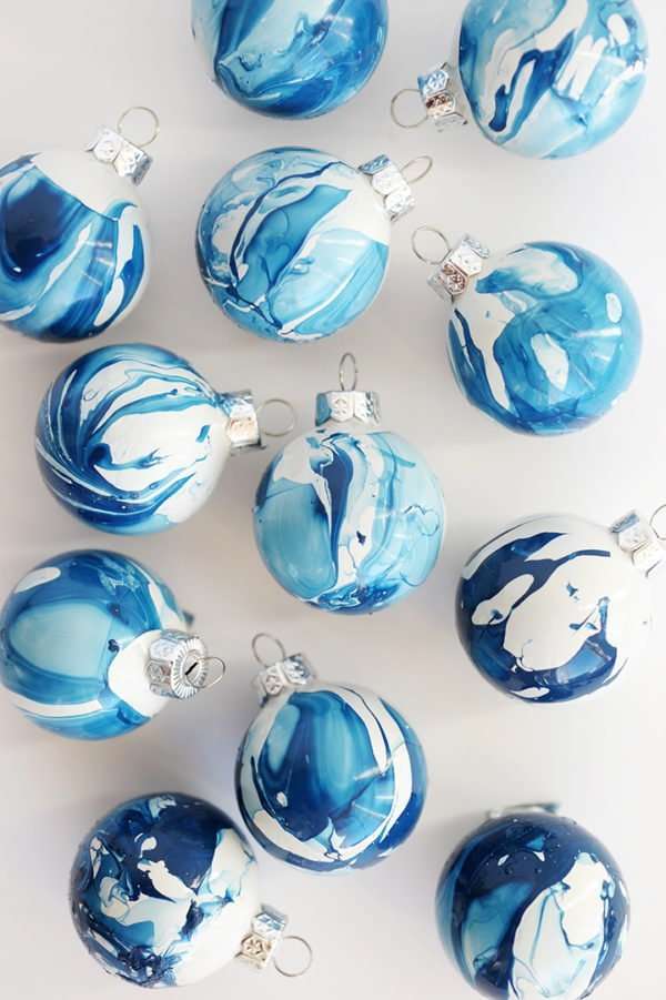 Blue marbled indigo globe ornaments