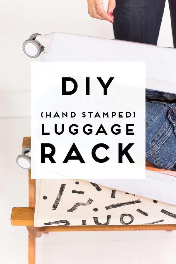 Make this DIY luggage rack! It's handsewn, handstamped, and the perfect place for guests to put their suitcase when they come to visit! #diy #tutorial #luggage #luggagerack #handstamped