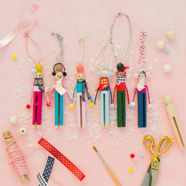 DIY Clothespin ornaments and 11 other DIY holiday ornaments to try before Christmas! #ornaments #tassels #holiday #christmas #diy