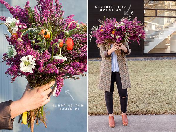 A DIY doorstep surprise....flower bomb! With a giant bouquet of heather, ranunculus, scabiosa, etc. #flowerpower #flowers #bouquet #floral #fall