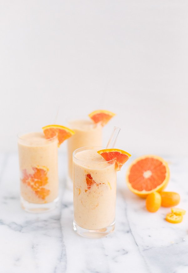 Try this healthy version of a creamsicle smoothie, using cara cara oranges (the ones that are pink inside). Click through for the limited ingredient recipe. #smoothie #oranges #recipe
