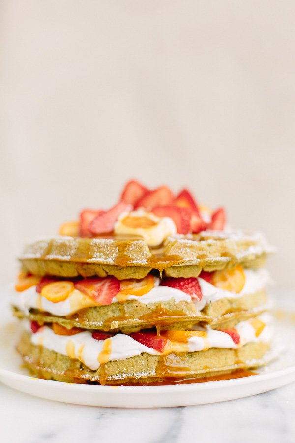 Talk about a unique waffle recipe! This matcha waffle recipe is as unique as it is photo-worthy. And would be great for a Valentine's Day brunch idea too. So tasty for an early breakfast or late day brunch. #yum #waffles #recipe #breakfast #foodporn #wafflerecipe #foodphotography #valentinesday #brunch