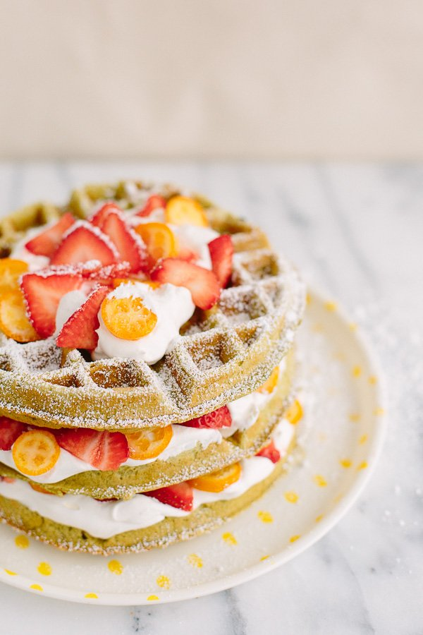 This matcha waffle recipe is as unique as it is photo-worthy. So tasty for an early breakfast or late day brunch. #yum #waffles #recipe #breakfast #foodporn #wafflerecipe #foodphotography