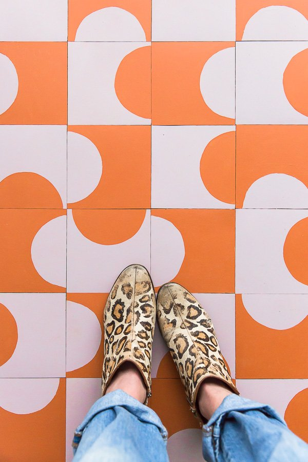 Totally floored! Learn how to create your own (custom design) DIY floor tiles on a budget. #flooring #pattern #modern #cementtile #tilepattern #colorcombo #ihavethisthingwithfloors