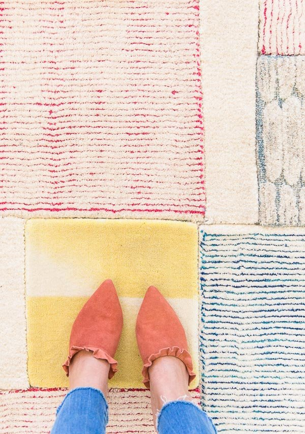 How to make a large scale (patchwork) DIY rug using rug samples and a few other items. #rug #diy #tutorial #rugdiy #homedecor #pattern #stripes #fromwhereistand #textiles