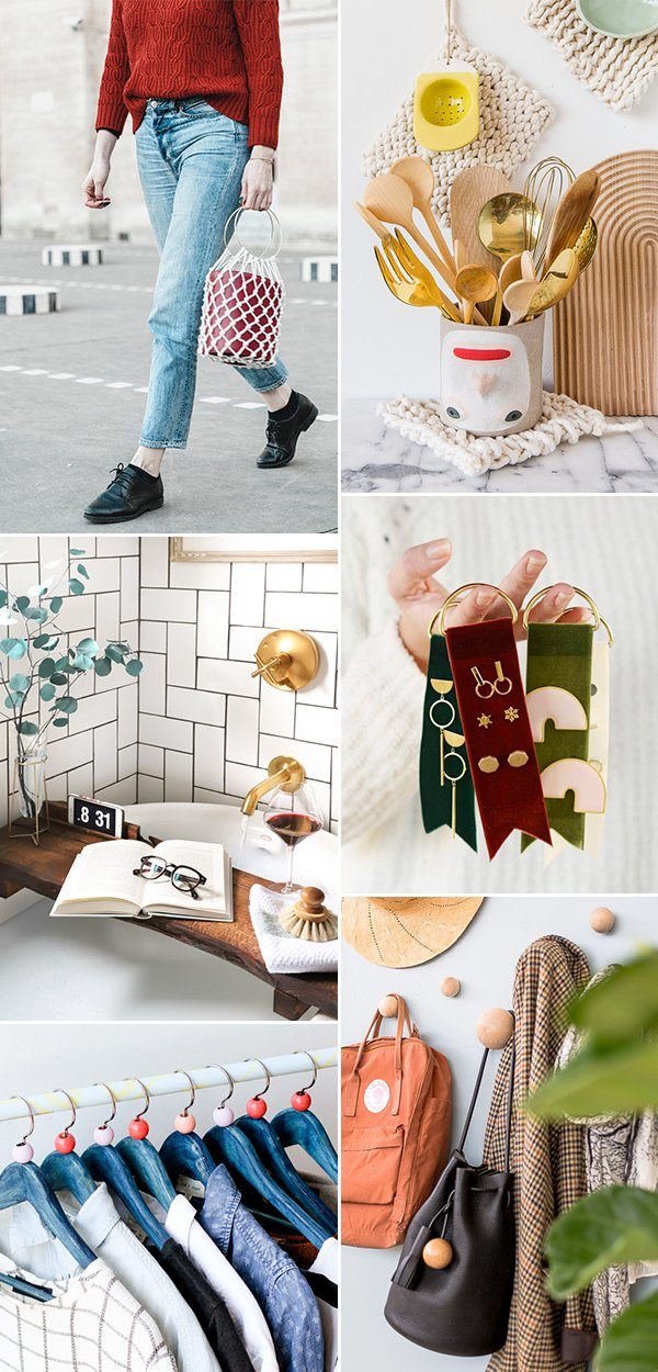 6 Weekend DIYs to Try! Get ready for the weekend with these project ideas ranging from a do-it-yourself handbag to geometric wall hooks. #diy #weekendproject #tutorial