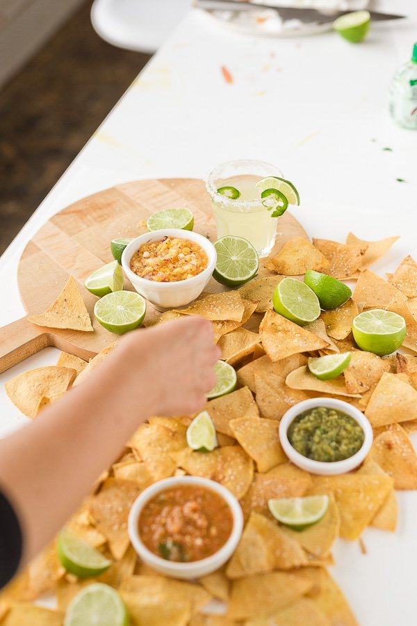 Behind the scenes of blogging - styling a food shoot with Paper and Stitch. #behindthescenes #bts #food #chipsandsalsa #blogging