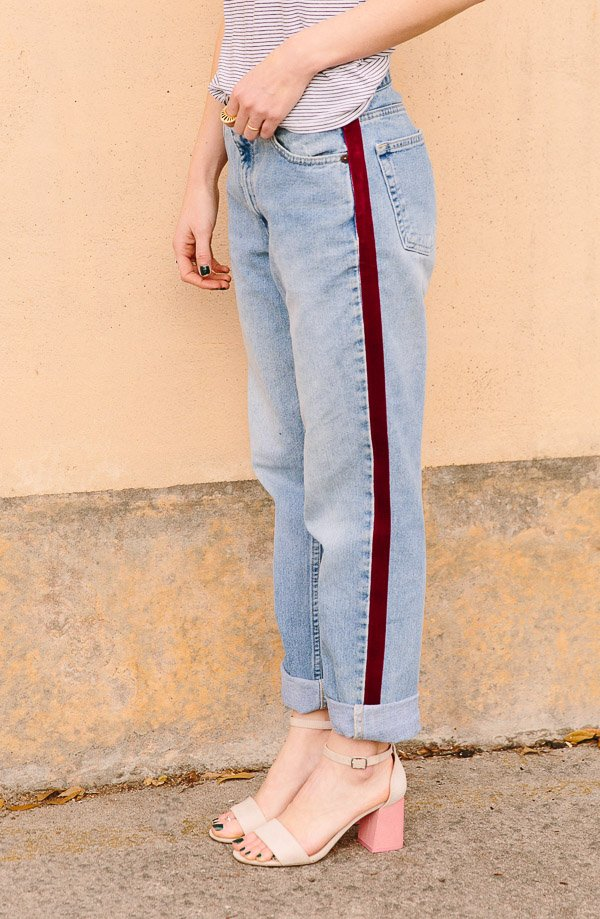 Make these DIY side-stripe pants. The stripe is velvet and they're really inexpensive to make. Click through for the tutorial. #nosew #pants #stripes #fashion #fashiondiy #diy #tutorial
