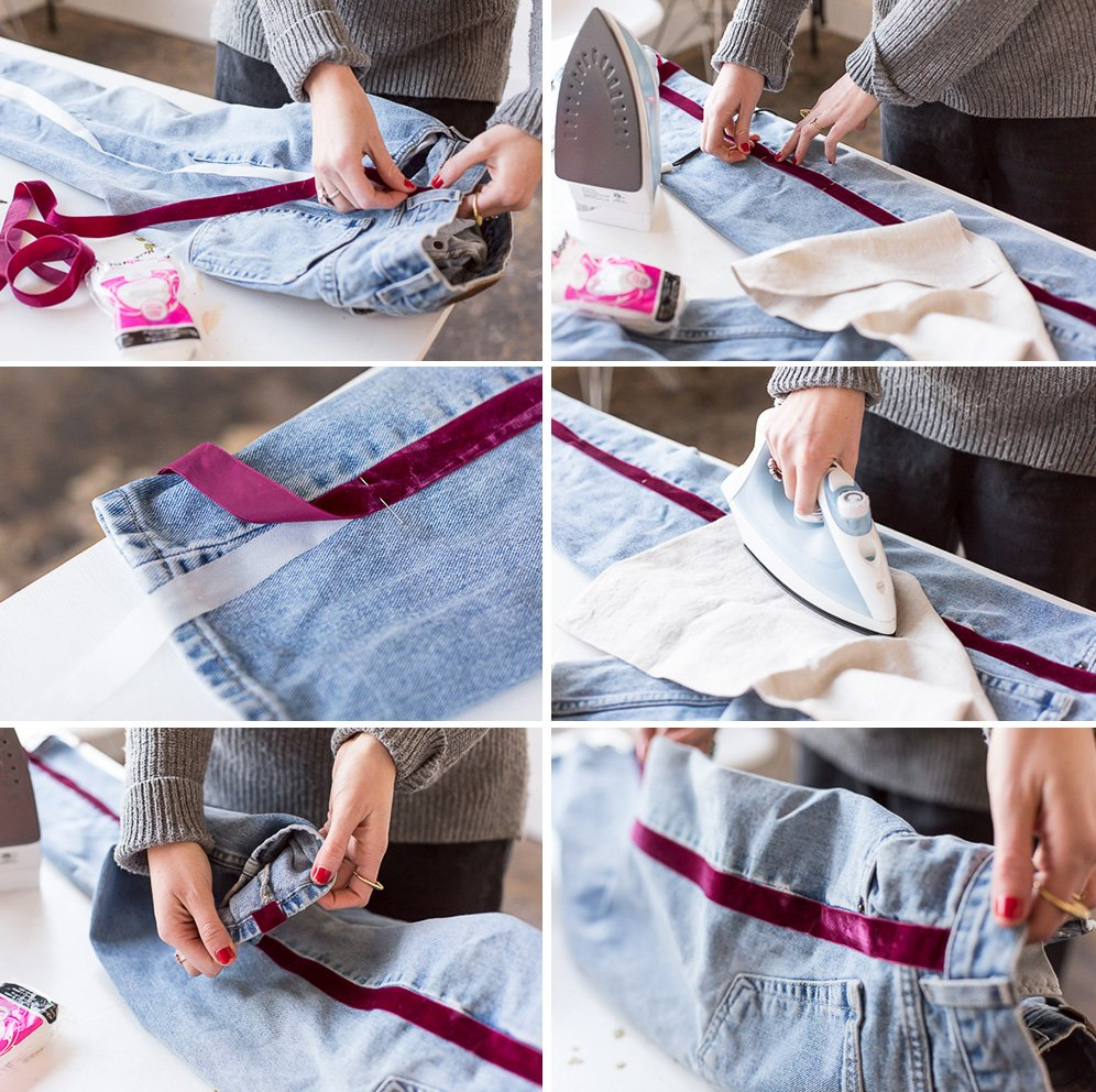 How to make DIY side-stripe pants. They're no-sew! Click through for the tutorial. #nosew #pants #stripes #fashion #fashiondiy #diy #tutorial