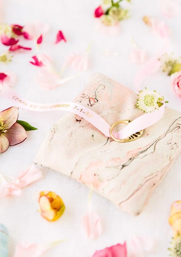 DIY ring pillow idea for weddings. Click through for the tutorial. #wedding #weddingdiy #diy