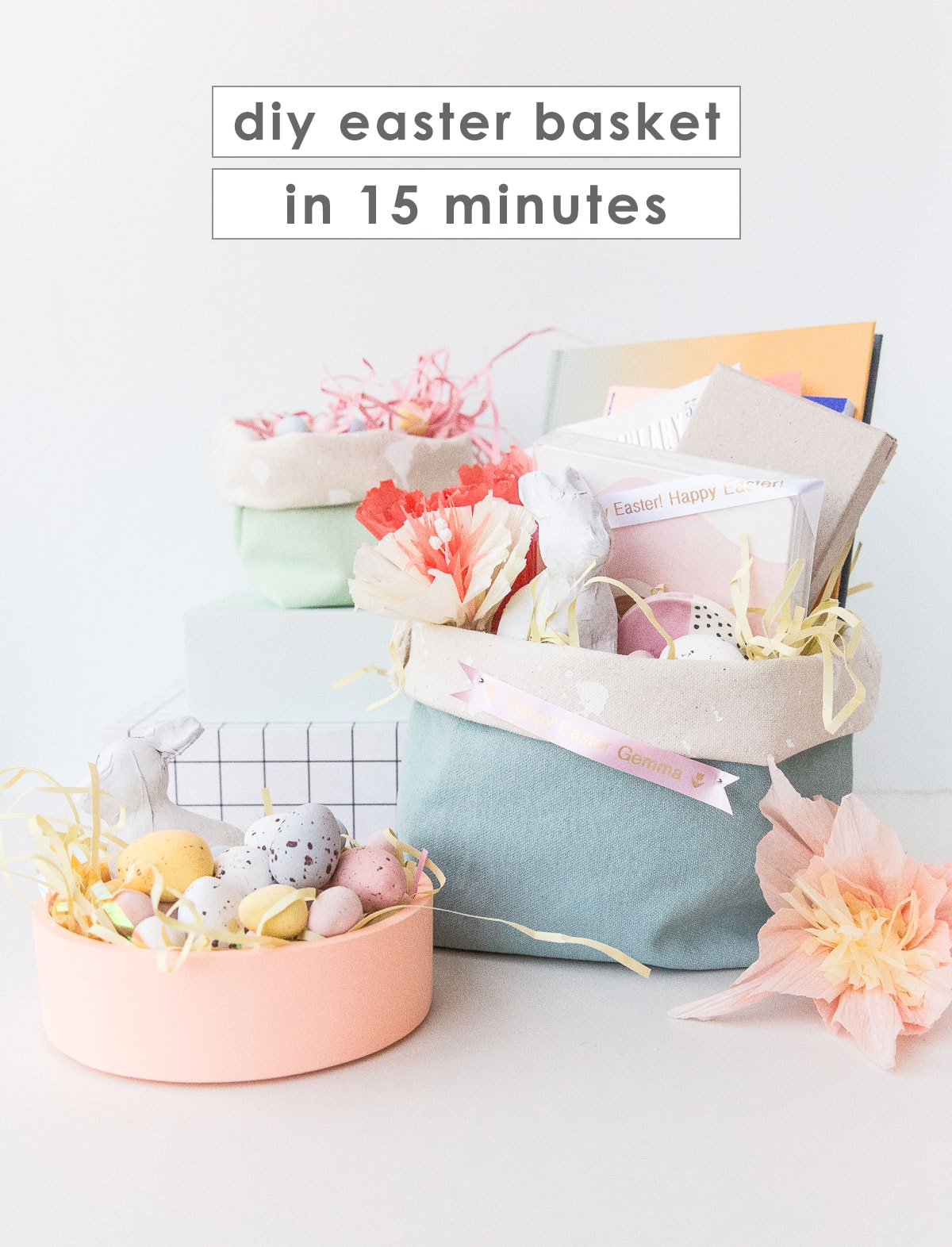 Colorful homemade Easter baskets with candy and gifts inside.