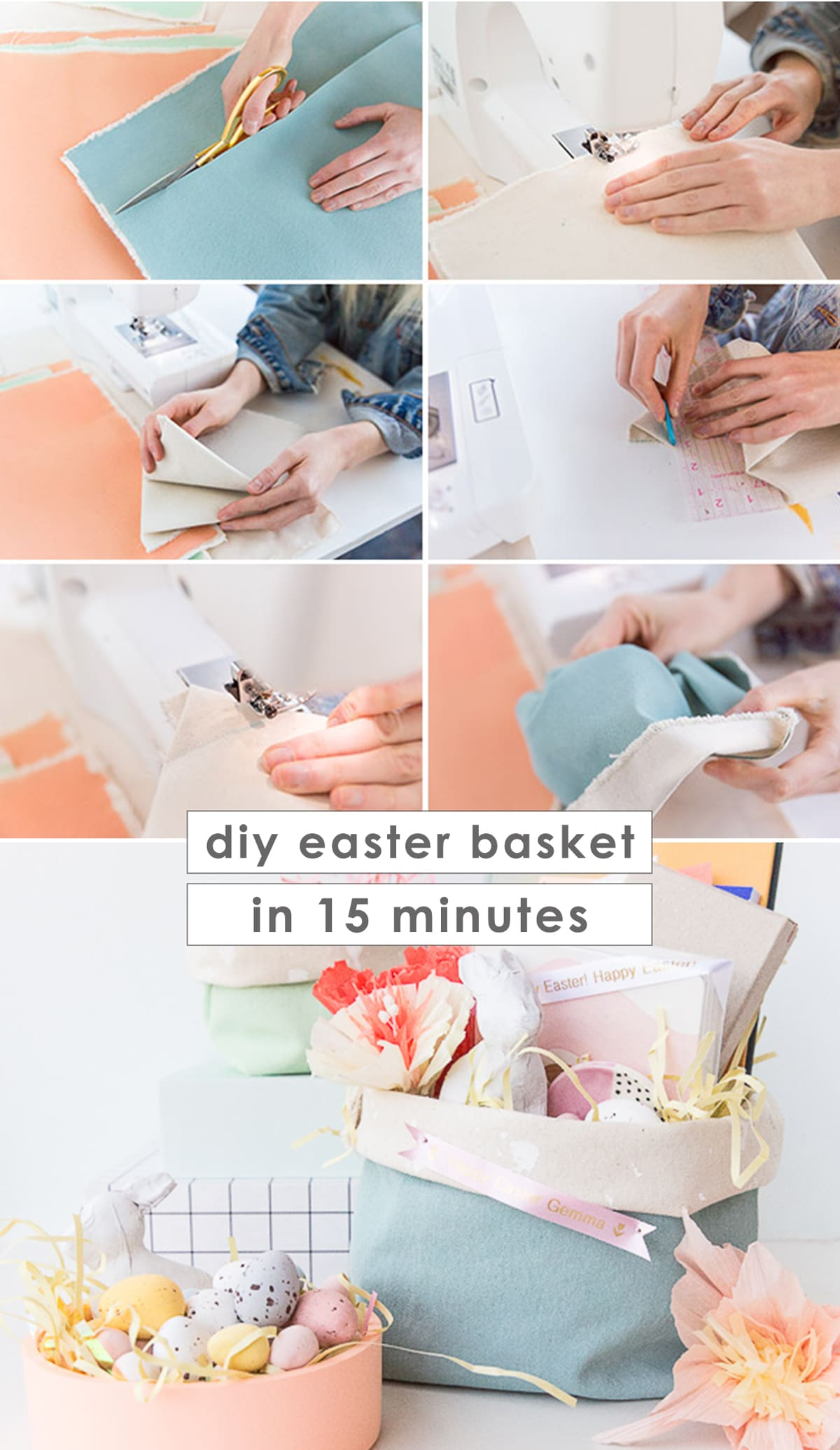 Step by step photos that show how to make a DIY Easter basket with canvas.