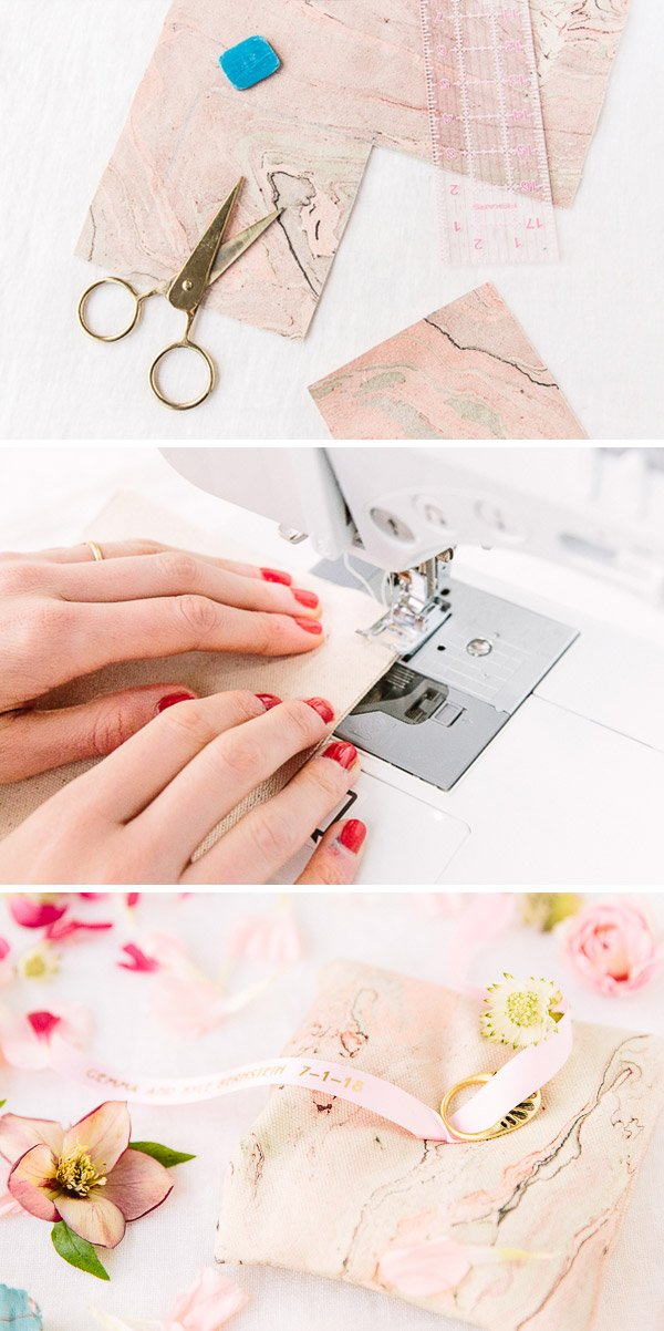 DIY ring pillow for weddings. Click through for all three DIY wedding ideas. #wedding #weddingdiy #diy