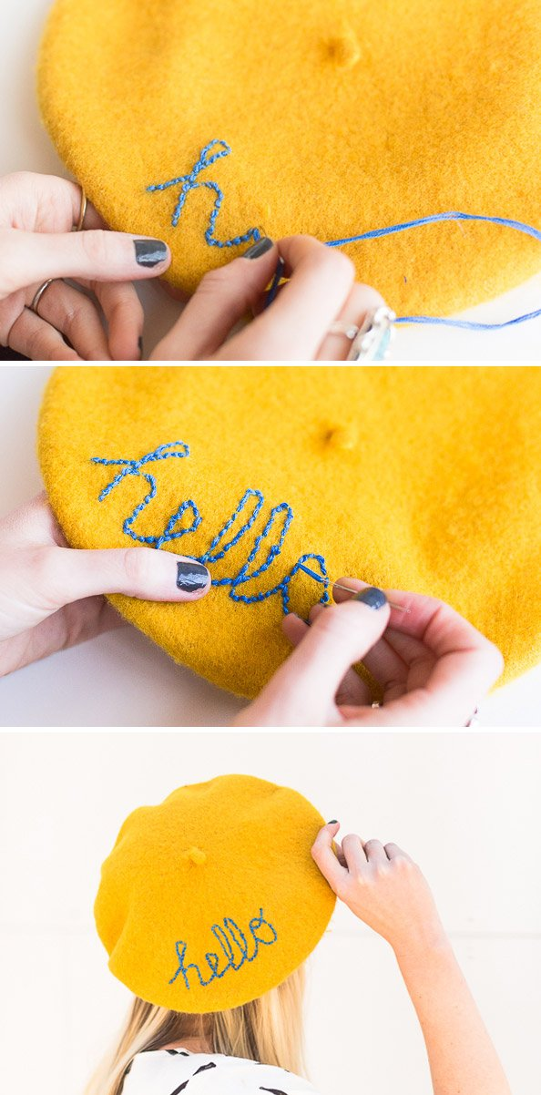 Embroider a message on an inexpensive beret to standout from the crowd. #diy #embroidery #beret #tutorial #fashion