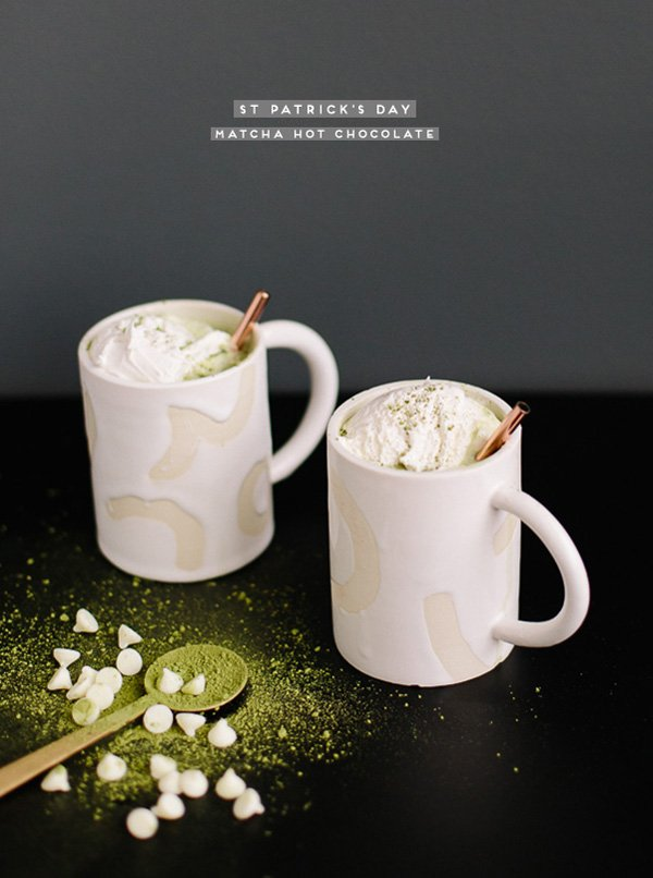 A Matcha Hot Chocolate Recipe for St Patrick's Day #hotchocolate #recipe #green #stpatricksday