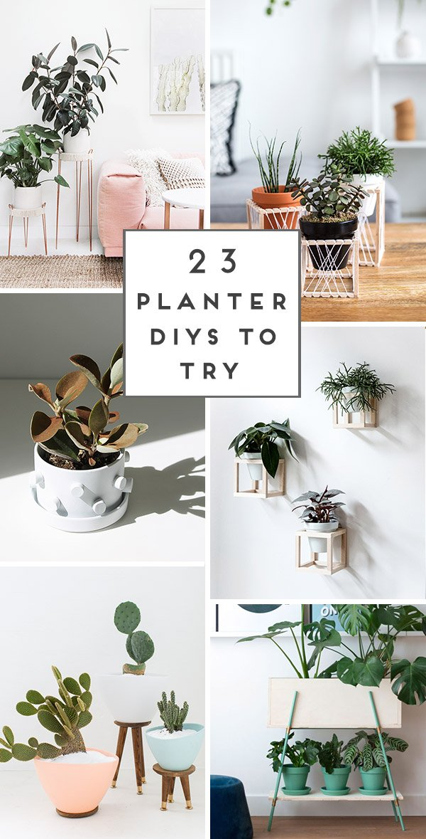 23 unique DIY planters ideas for spring / summer and beyond. Click through to see all 23 projects. #diy #diyplanter #uniquediyplanter #tutorial #diyhome #diydecor