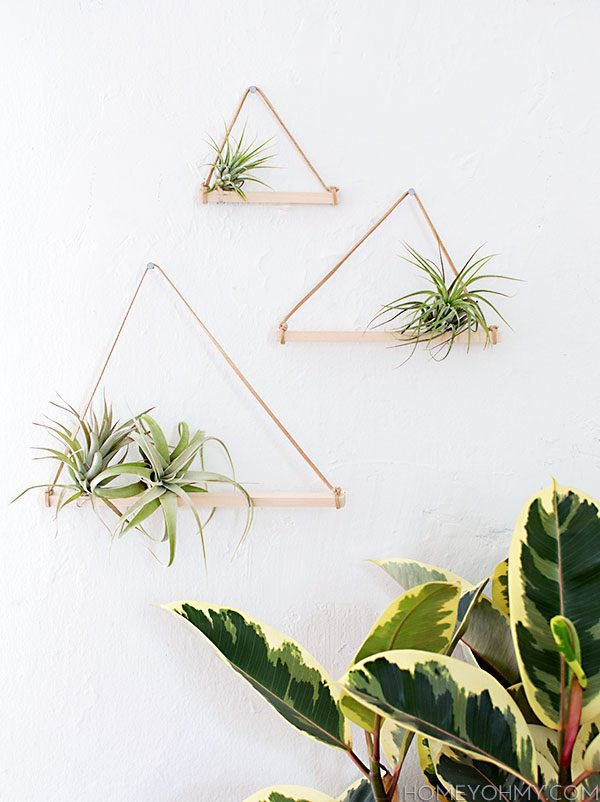 DIY airplant wall hangers from Homey Oh My. Check out 23 Planters You Can DIY! #plants #diyplanter #planter #pots