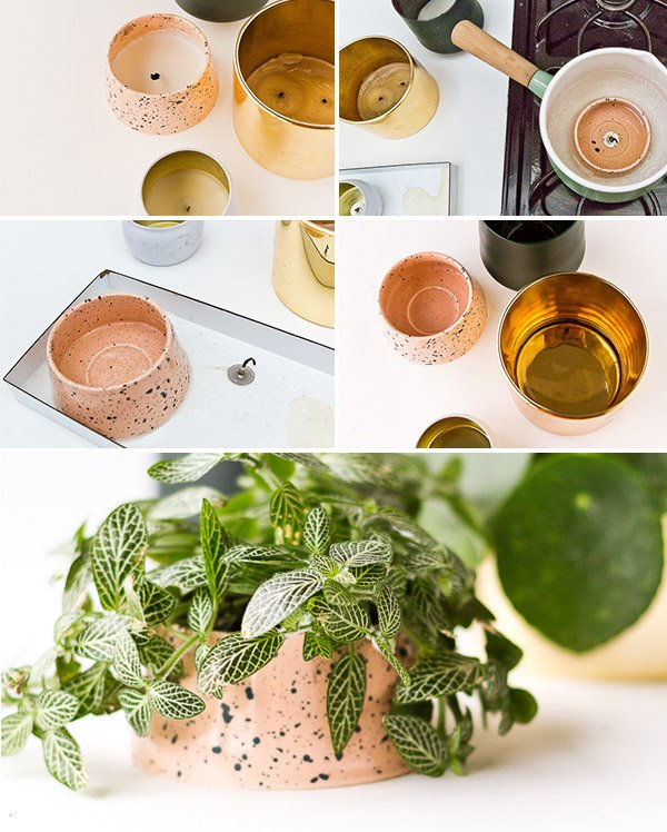How to Convert Used Candle Containers to Cool Planters in Minutes. #diyplanter #diy #planterideas