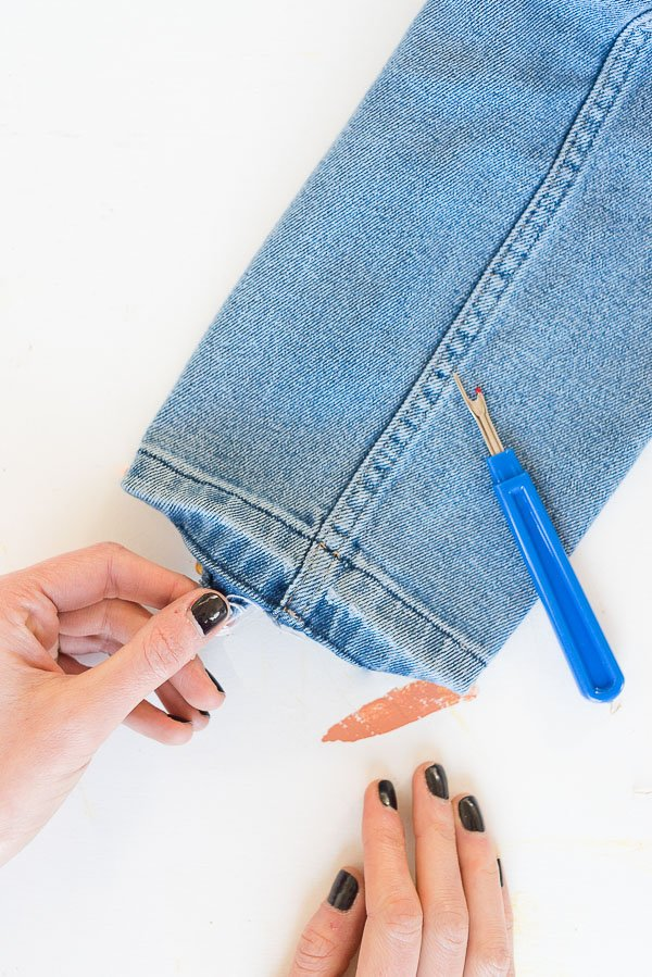How to DIY the Drop Hem Jeans Trend (with Denim You Already Have) #denimdiy #drophem #diy