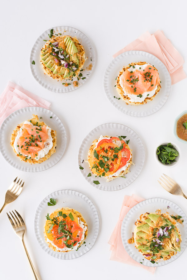 Savory hash brown nests 3 ways at your next brunch. Click through for the recipe! #breakfast #brunch #recipe #hashbrowns #uniquehashbrown
