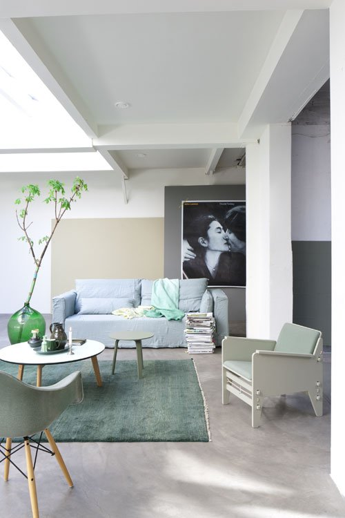 Photo of sage green interiors trend in home accessories and furniture.