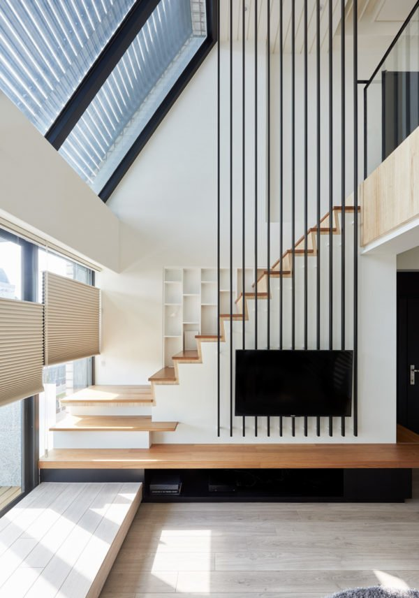"Asian modern staircase design via Hey!Cheese. See how to ""Step Up Your Staircase Game with This Modern Design Trend"" #staircase #stairs #stairscreen #moderndesign"