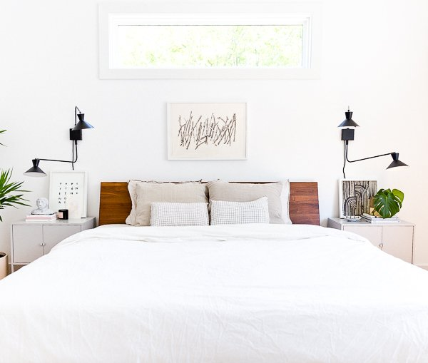 An organic modern bedroom makeover, with a neutral color palette. This is the home of lifestyle blogger, Brittni Mehlhoff of Paper and Stitch. #interiors #bedroominspo #organicmoderninteriors #organicmodernbedroom #bedroommakeover