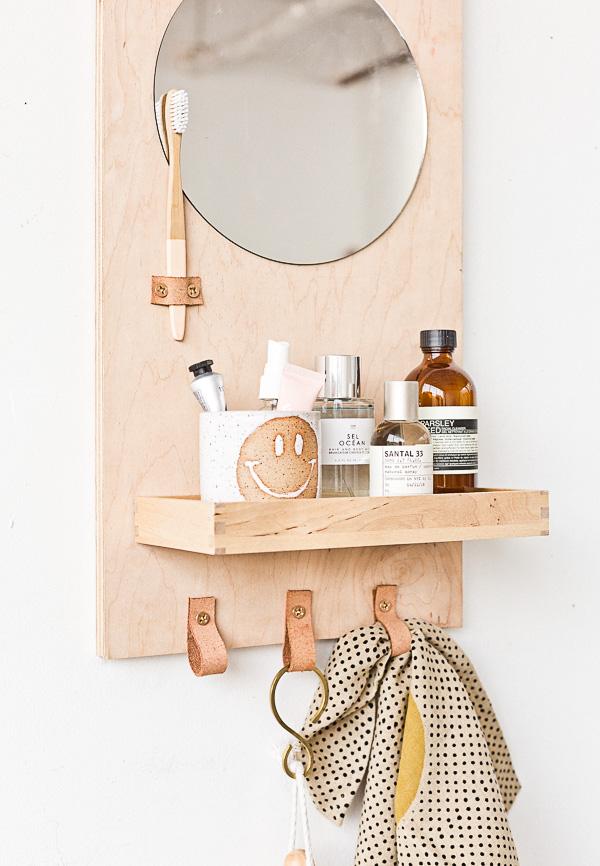 A Modern Diy Bathroom Organizer With Mirror Paper And Stitch