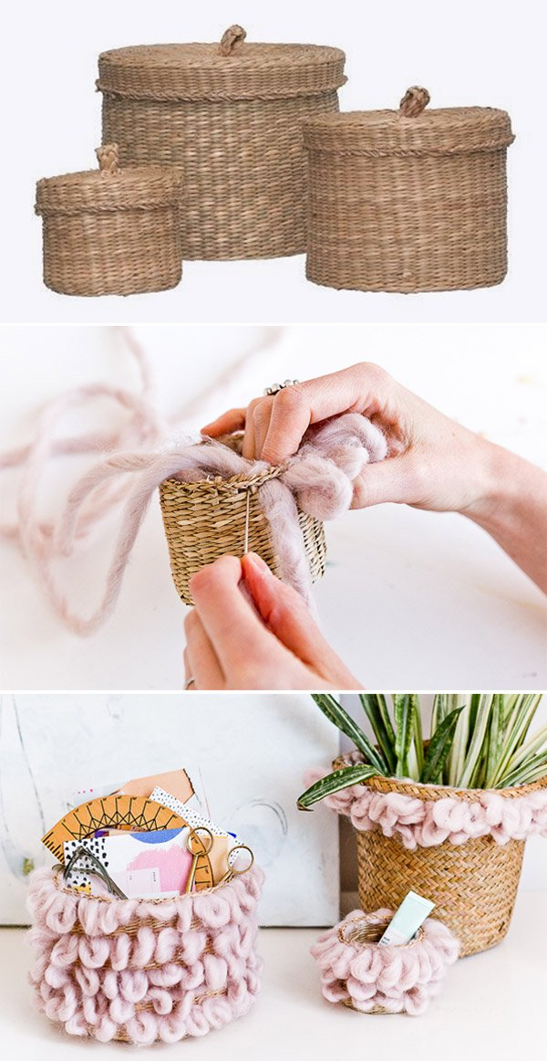 How to Make Woven Loop Baskets for Organization and Storage #diystorage #diy #diyorganization #diybasket