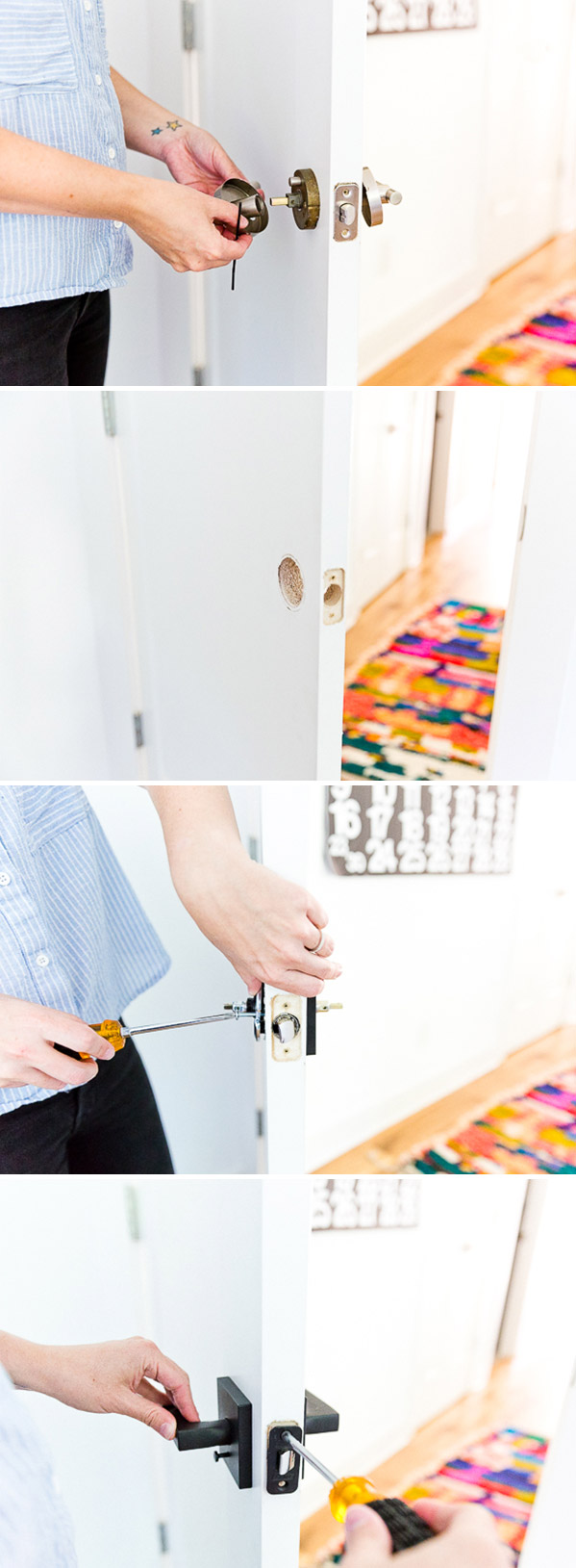 How to install new door hardware in under 15 minutes! Who knew it was this easy. Click through for more! #installdoorhardware #diyroommakeover #doorhardware